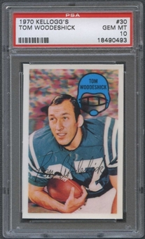1970 Kellogg's Football #30 Tom Woodeshick PSA 10 (GEM MT) *0493