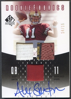2005 SP Authentic #RFAS Alex Smith Rookie Fabrics Jersey Ball Auto #14/15