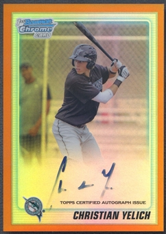 2010 Bowman Chrome Draft Prospect #BDPP78 Christian Yelich Orange Refractor Rookie Auto #12/25
