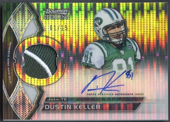2011 Bowman Sterling #BSARDK Dustin Keller Pulsar Refractor Patch Auto #01/15