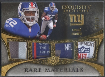 2009 Exquisite Collection #4AB Andre Brown Rare Materials Gold Laundry Tag #06/10