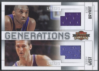 2009/10 Panini Threads #1 Jerry West & Kobe Bryant Generations Materials Jersey #001/100