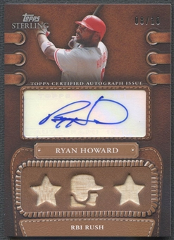 2010 Topps Sterling #LLAR8 Ryan Howard Legendary Leather Triple Relic Bat Auto #08/10