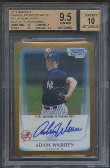 2011 Bowman Chrome Prospect #BCP111A Adam Warren Gold Refractor Rookie Auto #37/50 BGS 9.5