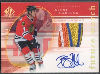 2005/06 SP Authentic #145 Brent Seabrook Limited Rookie Patch Auto #070/100