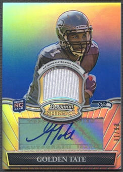 2010 Bowman Sterling #BSARGT Golden Tate Blue Refractor Rookie Jersey Auto #91/99