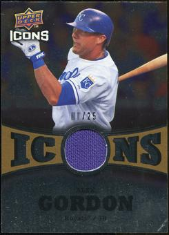 2009 Upper Deck Icons Icons Jerseys Gold #AG Alex Gordon /25