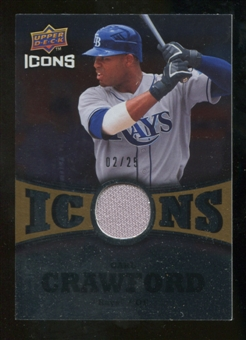 2009 Upper Deck Icons Icons Jerseys Gold #CR Carl Crawford /25