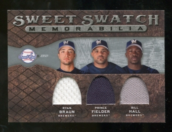 2009 Upper Deck Sweet Spot Swatches Triple #MIL Bill Hall Prince Fielder Ryan Braun