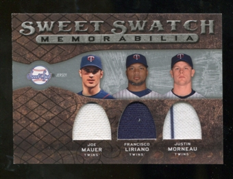 2009 Upper Deck Sweet Spot Swatches Triple #MIN Francisco Liriano Joe Mauer Justin Morneau