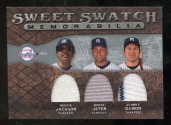 2009 Upper Deck Sweet Spot Swatches Triple #NYC Johnny Damon Derek Jeter Reggie Jackson
