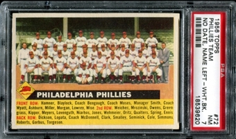 1956 Topps Baseball #72 Philadelphia Phillies Team (No Date-Name Left) PSA 7 (NM) *9620