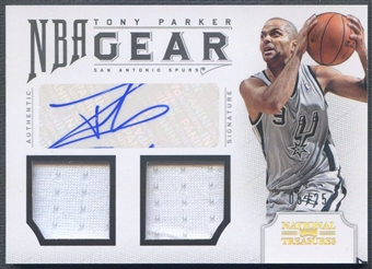 2012/13 Panini National Treasures #28 Tony Parker NBA Gear Dual Jersey Auto #05/25