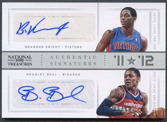 2012/13 Panini National Treasures #89 Bradley Beal & Brandon Knight 11 vs. 12 Signatures Auto #09/49