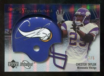 2007 Upper Deck Sweet Spot Signatures Gold #VCT Chester Taylor /5