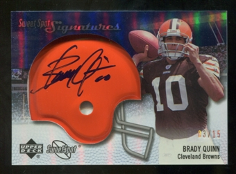 2007 Upper Deck Sweet Spot Signatures Gold #VBQ Brady Quinn /15