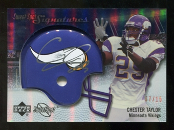 2007 Upper Deck Sweet Spot Signatures Gold #VCT Chester Taylor /15