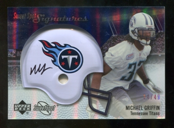 2007 Upper Deck Sweet Spot Signatures Silver 49 #MG2 Michael Griffin Autograph /49
