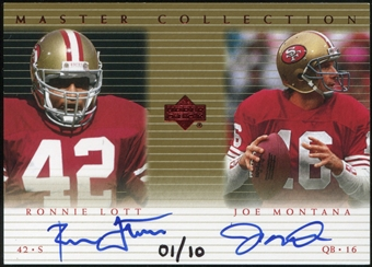 2000 Upper Deck Montana Master Collection Dual Autographs #JMRL2 Joe Montana Ronnie Lott 1/10