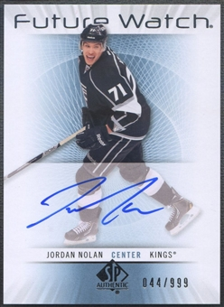2012/13 SP Authentic #221 Jordan Nolan Rookie Auto #044/999