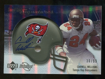 2007 Upper Deck Sweet Spot Signatures Silver 99 #CW Cadillac Williams Autograph /99