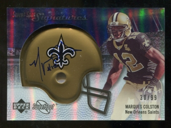 2007 Upper Deck Sweet Spot Signatures Silver #MC Marques Colston /99