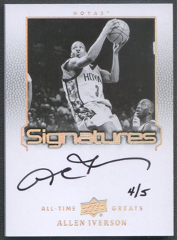 2013 Upper Deck All-Time Greats #ATGAI6 Allen Iverson Signatures Silver Auto #4/5