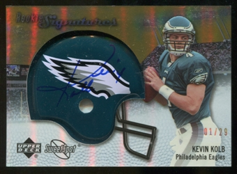 2007 Upper Deck Sweet Spot Rookie Signatures Gold #142 Kevin Kolb /29