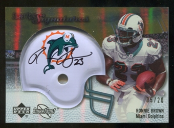 2007 Upper Deck Sweet Spot Signatures Gold 20 #BR Ronnie Brown Autograph /20