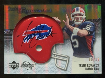 2007 Upper Deck Sweet Spot Rookie Signatures Gold #102 Trent Edwards /15