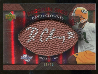 2007 Upper Deck Sweet Spot Pigskin Signatures Red 15 #DC David Clowney Autograph /15