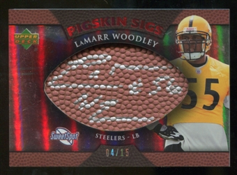 2007 Upper Deck Sweet Spot Pigskin Signatures Red 15 #LW LaMarr Woodley Autograph /15