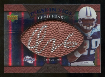2007 Upper Deck Sweet Spot Pigskin Signatures Blue #CH Chris Henry RB /20