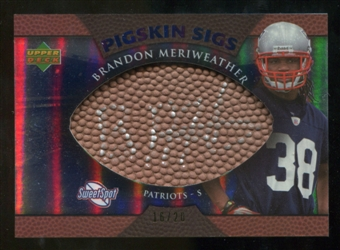 2007 Upper Deck Sweet Spot Pigskin Signatures Blue #ME Brandon Meriweather /20