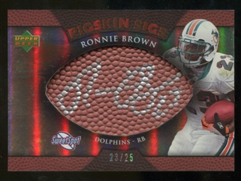 2007 Upper Deck Sweet Spot Pigskin Signatures Bronze 25 #RB Ronnie Brown Autograph /25