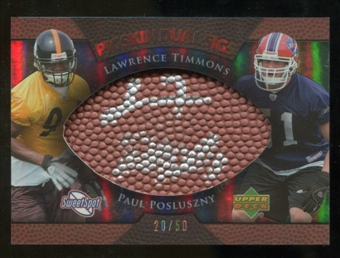 2007 Upper Deck Sweet Spot Pigskin Signatures Dual #TP Lawrence Timmons Paul Posluszny /50