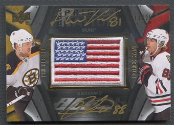 2009/10 UD Black #PN2KK Patrick Kane & Phil Kessel Pride of a Nation Patch Auto #11/25