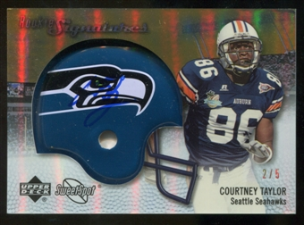 2007 Upper Deck Sweet Spot Rookie Signatures Gold 5 #125 Courtney Taylor Autograph /5