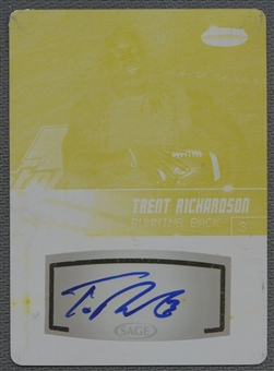 2012 SAGE HIT #A76 Trent Richardson Yellow Printing Plate Rookie Auto #1/1
