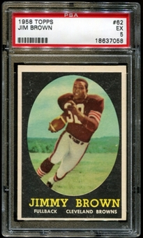 1958 Topps Football #62 Jim Brown Rookie PSA 5 (EX) *7058