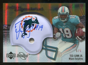 2007 Upper Deck Sweet Spot Rookie Signatures Gold #138 Ted Ginn Jr. /5