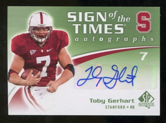 2010 Upper Deck SP Authentic Sign of the Times #TG Toby Gerhart Autograph