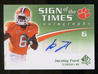 2010 Upper Deck SP Authentic Sign of the Times #JF Jacoby Ford Autograph