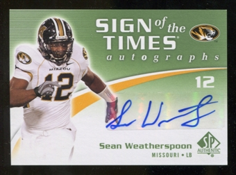 2010 Upper Deck SP Authentic Sign of the Times #SW Sean Weatherspoon Autograph