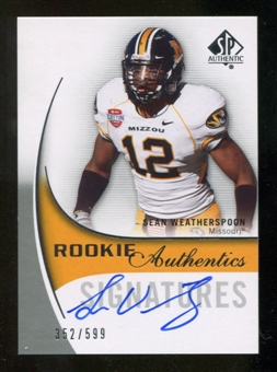 2010 Upper Deck SP Authentic #143 Sean Weatherspoon Autograph /599