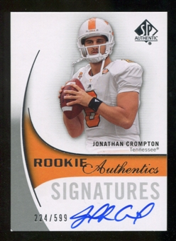 2010 Upper Deck SP Authentic #155 Jonathan Crompton Autograph /599