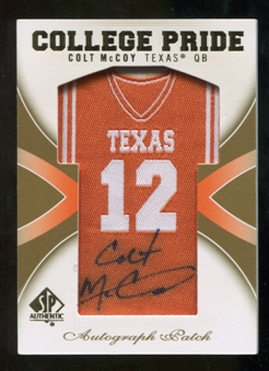 2010 Upper Deck SP Authentic College Pride Patch Autographs #CM Colt McCoy Autograph