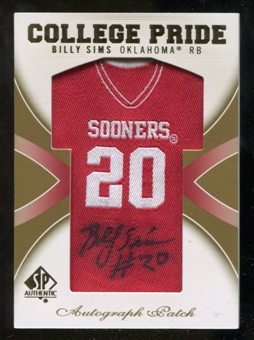 2010 Upper Deck SP Authentic College Pride Patch Autographs #SI Billy Sims Autograph