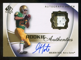 2010 Upper Deck SP Authentic Gold #132 Golden Tate RC Patch Autograph /25