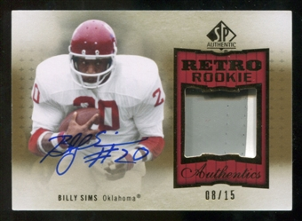2010 Upper Deck SP Authentic Retro Rookie Patch Autographs #SI Billy Sims 8/15